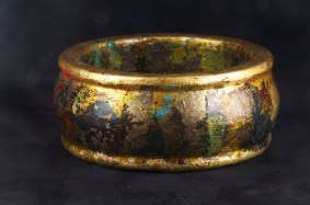 Gilded with gold, copper, and dutch metal with patina finish. $75